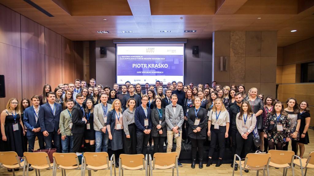 Inauguracja jubileuszowej V Krajowej Konferencji Ogólnopolskiego Forum Mediów Akademickich, Kraków, grudzień 2019 r.